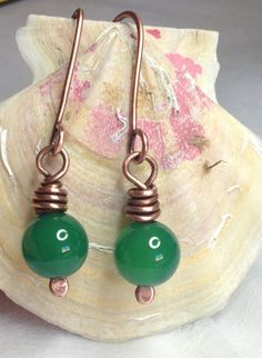 Copper earrings and green onice