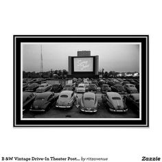 B W Vintage Drive In Theater Poster 13 X 19 Black And White Postersdrive