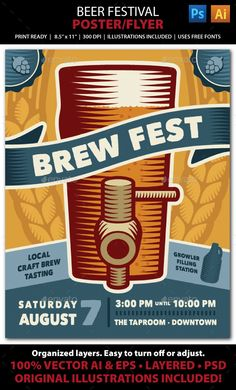 Beer Festival Event Poster or Flyer — Photoshop PSD #microbrew #event • Available here → https://graphicriver.net/item/beer-festival-event-poster-or-flyer/10769781?ref=pxcr