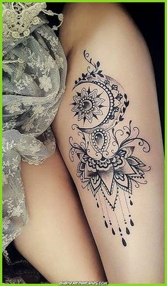 Mandala Thigh Tattoo Ideas For Women . Thighs - For Ideas Thighs - Artists - Moon mandala thigh tattoo ideas for women -Moon Mandala Thigh Tattoo Ideas For Women . Thighs - For Ideas Thighs - Artists - Moon mandala thigh tattoo ideas for women - Diy Tattoo, Tattoo Henna, Lace Tattoo, Tattoo Art, Unalome Tattoo, Tattoo Pics, Realism Tattoo, Tattoo Black, Tattoo Images