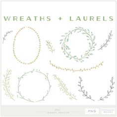 36 assorted wreath, laurel and branch designs. Displayed in a watercolor/painted theme, white chalk theme, and a dark gray color; but can be