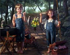 Artist Bob Byerley Unframed Children Fishing Print Summer Snapshot | WildlifePrints.com