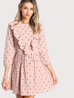 SheIn offers Frill Trim Polka Dot Smock Dress & more to fit your fashionable needs. Classy Outfits, Pretty Outfits, Casual Outfits, Cute Outfits, Modest Fashion, Girl Fashion, Fashion Dresses, Simple Dresses, Casual Dresses