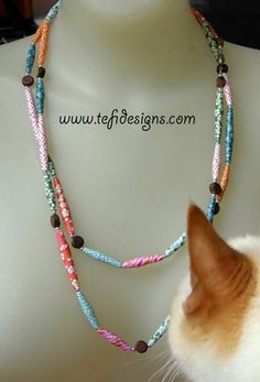 Paper Bead necklace & George by tefi_designs, via Flickr