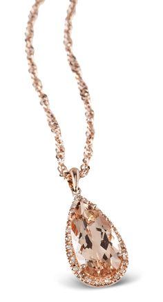 4.15ct Morganite and Champange Diamond Rose Gold Pendant
