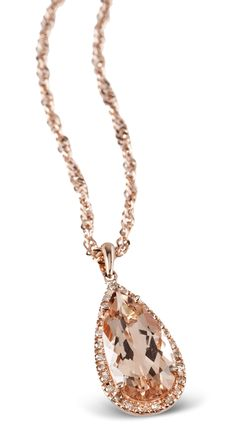 4.15ct Morganite and Champange Diamond Rose Gold Pendant