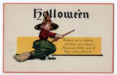 Witch on Broom Postcard