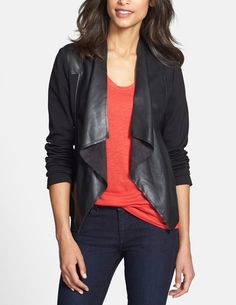 Creating an edgy look with this faux leather and suede jacket that drapes perfectly. It looks adorable with a tee and jeans for a quick and easy outfit.