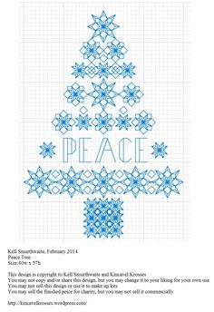 Design: Peace Tree Size: x Designer: Kell Smurthwaite, Kincavel Krosses Permissions: This design is copyright to Kell Smurthwaite and Kincavel Krosses You may not copy and/or share this des… Blackwork Cross Stitch, Blackwork Embroidery, Cross Stitch Tree, Cross Stitch Alphabet, Cross Stitch Kits, Cross Stitch Charts, Cross Stitch Designs, Cross Stitching, Cross Stitch Embroidery