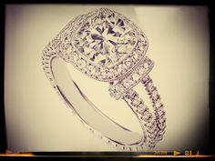 Cushion Cut Diamond Halo Engagement Ring Double Pave Band