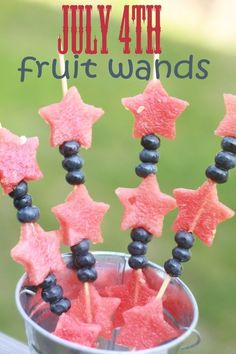 Patriotic Fruit Wands from This Mama Loves.  Patriotic Fruit Wands. Want a fun, festive and healthy snack for your next family party? Check out these super simple Fruit Wands.