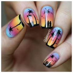 Nail art Christmas - the festive spirit on the nails. Over 70 creative ideas and tutorials - My Nails Cute Nail Art, Cute Nails, Pretty Nails, Beach Nail Art, Beach Nails, Uñas One Stroke, Sunset Nails, Palm Tree Nails, Vacation Nails