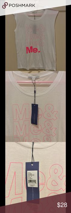 Awesome Rebecca Minkoff muscle-tee' Med NWT Rare White Rebecca Minkoff Muscle Tee for You, You & You! New with Tags and Hard to Find. Oversized Medium- looks great as a bathing suit cover-up, going to the gym or my favorite thing, having a lazy day on the couch catching up with friends, Hulu and chocolate (-: !! Rebecca Minkoff Tops Muscle Tees