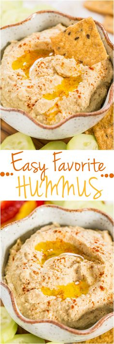 Easy Favorite Hummus - Don't waste your money buying hummus when you can make it at home in minutes! Fast, easy, foolproof, and tastes way better than storebought!!