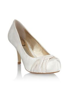 97fd2a926b87 Ivory satin pleated weave court shoes Debut at Debenhams.
