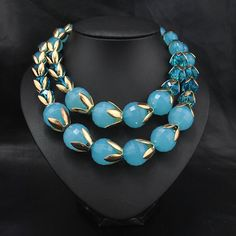 #Acrylic #Beads #Necklace, with #Crystal, faceted & 2-strand.