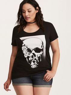 Plus Size Two Face Skull Scoop Tee, DEEP BLACK