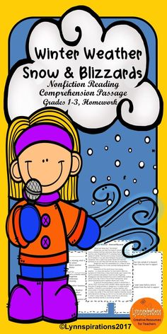 This reading comprehension activity is great for teaching Winter Weather to grades 1-3. It can be used in your class to help your students with reading comprehension skills as well as with test taking skills. It is part of the Weather Bundle. Please take a preview peek! Included: An engaging passage with 4 multiple choice questions and 2 written responses.