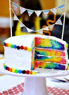 Hi Sugarplum | Rainbow Swirl Cake Tutorial