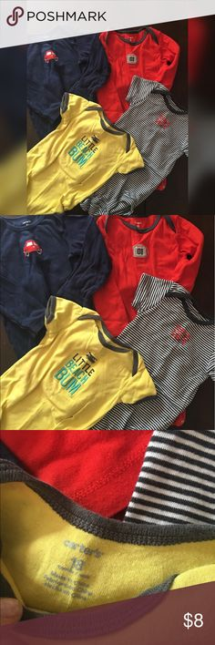 *SALE*❤️ 4 Carter's body suits 18 mo All great condition. Two short sleeve and two long sleeve body suits Carters One Pieces Bodysuits