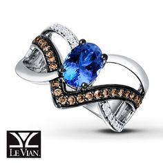LeVian Tanzanite Ring 1/3 ct tw Diamonds 14K Vanilla Gold
