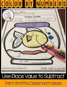 Tips, Tricks, Lesson Plans, Centers, Task Cards, Color By Numbers and Resources to Teach Using Place Value to Subtract to Your Class, PERFECT for third grade Go Math teachers, by Fern Smith's Classroom Ideas. 3rd Grade Go Math, third grade, 3rd grade.