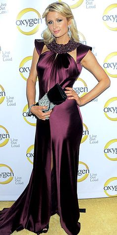 Paris Hilton in a purple gown -gorgeous. Love the dress , the person wearing it...not so much.