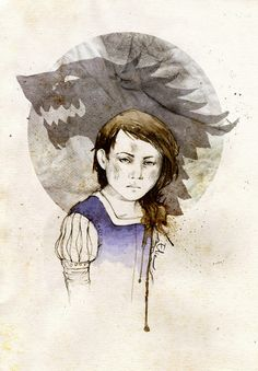 "Arya Stark by elia-illustration on deviantART. ""And Arya, well...Ned's visitors would oft mistake her for a stableboy if they rode into the yard unannounced. Arya was a trial, it must be said. Half a boy, half a wolf pup. Forbid her anything and it became her heart's desire.... I despaired of ever making a lady of her. She collected scabs as other girls collected dolls, and would say anything that came into her head."""