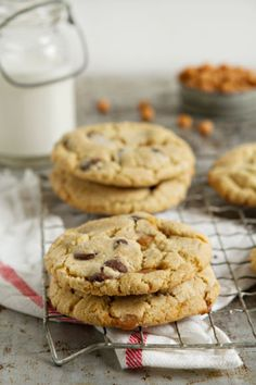Salted Caramel Chocolate Chip Cookies are loaded with caramel bits and sprinkled with sea salt to create a deliciously sweet and salty cookie.