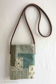 Small up-cycled linen cross-body bag with leather strap, embroidered patchwork bag Sashiko Embroidery, Japanese Embroidery, Patchwork Bags, Quilted Bag, Fabric Crafts, Sewing Crafts, Gypsy Bag, Boho Gypsy, Boho Bags