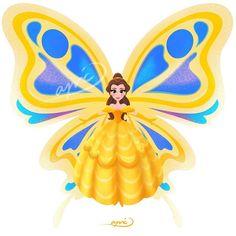Belle [as a butterfly] (Drawing by ApicolloDraws Every Disney Princess, Bella Disney, Disney Belle, Disney Nerd, Arte Disney, Disney Marvel, Disney Fan Art, Disney Love, Butterfly Drawing