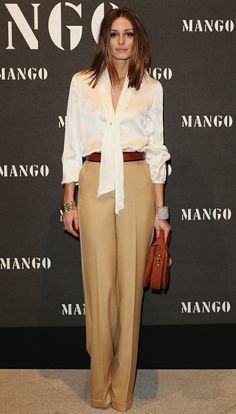 Just perfect ... a through back to the 80's work wear ... Another white shirt/blouse paired with some smart camel trousers