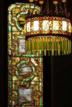 Tiffany electrolier and leaded-glass window, ca. 1892-94 at Willard Memorial Chapel, Auburn, NY: Everything in this chapel was created by Tiffany, including furniture, floors, etc.