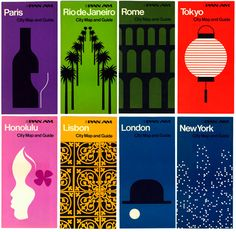 Pan Am guides: George Tscherny completed a bogglingly wide range of work standardizing the graphics for Pan Am in the early '70s, redesigning everything from timetables to stewards' aprons over the course of two years. These city guides are of a piece with the company's other projects of that era, recalling both the bold imagery of Chermayeff & Geismar's posters for the company and Tscherny's own modular environmental graphics.