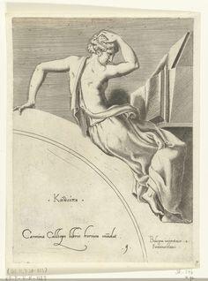 Francesco Primaticcio | Calliope, Francesco Primaticcio, Léon Davent, c. 1540 - c. 1555 | De muze Calliope leunend op een boog. Ze leest in een boek dat op een stenen lesenaar staat. Haar naam in het Grieks en een verwijzing in het Latijn staan op de boog.