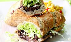 Tijuana Torta Recipe - melt some Monterey Jack Cheese onto the bean side of the sandwich Wrap Recipes, Lunch Recipes, Mexican Food Recipes, Vegetarian Recipes, Healthy Recipes, Dinner Recipes, Simple Recipes, Mexican Dishes, Vegetarian Mexican