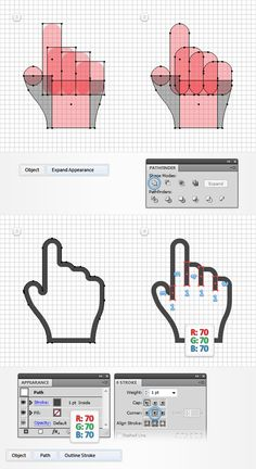 Create a Set of Pixel Perfect Hand Cursors in Adobe Illustrator Design Ios, Flat Design, Graphic Design Tutorials, Graphic Design Inspiration, Dashboard Design, Icon Design, Design Trends, Abstract Illustration, Graphic Design Illustration