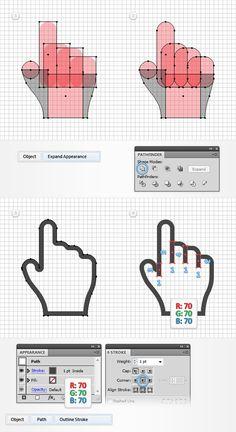Create a Set of Pixel Perfect Hand Cursors in Adobe Illustrator Design Ios, Flat Design, Graphic Design Tutorials, Graphic Design Inspiration, Icon Design, Dashboard Design, Design Trends, Logo Design Tutorial, Adobe Illustrator Tutorials