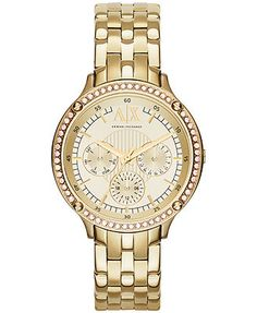 A|X Armani Exchange Watch, Women's Gold Ion-Plated Stainless Steel Bracelet 40mm AX5408....kinda like it