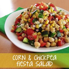 Corn & Chickpea Fiesta Salad with Cilantro-Lime Vinaigrette-- this was a hit last night!  Substituted cucumber with jalepeno.