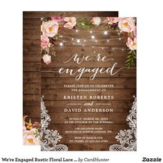We're Engaged Rustic Floral Lace Engagement Party Card