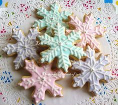 Snowflake Cookies - Christmas Cookies - Decorated Cookies - 12 Snowflakes. $35.99, via Etsy.