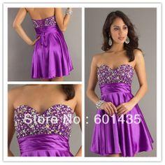 Freeshipping! CDN006 Beaded Purple Sweetheart Short Purple Prom Dresses 2014 $99.99