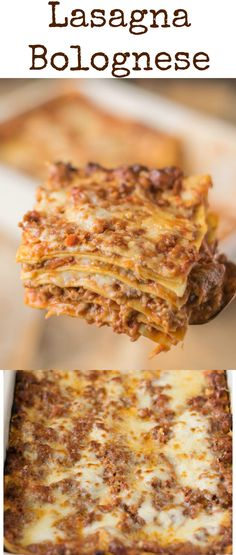 Lasagna (lasagne) Bolognese is a hearty Italian classic recipe with layers of fresh pasta, Bolognese sauce, bechamel sauce and Parmesan cheese. Perfect for feeding a crowd or freezing.