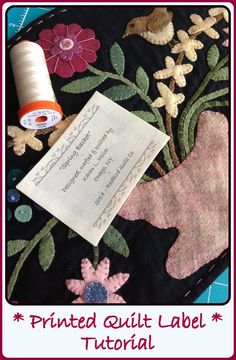 Easy to follow, step by step tutorial with pictures from Karen's Quilts, Crows and Cardinals: Printed Quilt Label Tutorial *Updated
