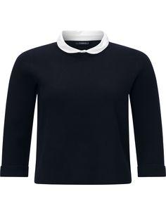 Purdey pullover met kraagje donkerblauw