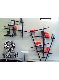 Libreria a parete Shangay in legno nera