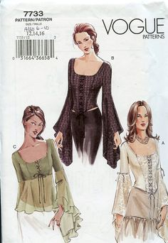 Vogue Pattern Boned Lace Up Bodice with sleeve variations..