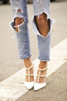 Something Navy - Ripped Distressed Jeans http://FashionCognoscente.blogspot.com