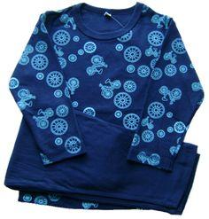 Pijama 100% algodón azul con estampado de bicis